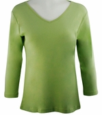 Katina Marie Green Colored 3/4 Sleeve V-Neck Cotton Top