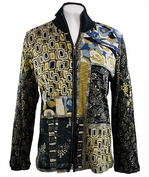 Katina Marie Long Sleeve, Foil Studded, Pre-Washed, Printed Cotton, Zippered Front Multi-Colored Jacket - Pattern Schemes