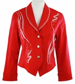 Katina Marie Long Sleeve, Rhinestone Studded Front and Collar, Button Front Red Jacket