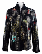 Katina Marie Long Sleeve, Rhinestone Studded, Pre-Washed, Printed Cotton, Zippered Front Black Jacket - Asian Scroll