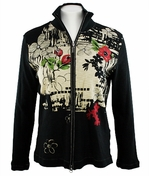 Katina Marie Long Sleeve, Rhinestone Studded, Pre-Washed, Printed Cotton, Zippered Front Black Jacket - Orient Print