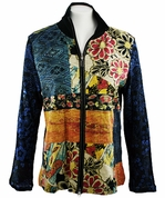 Katina Marie Long Sleeve, Rhinestone Studded, Pre-Washed, Printed Cotton, Zippered Front Multi-Colored Jacket - Eastern Medley