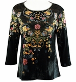 Katina Marie Printed Cotton, Pre-Washed, 3/4 Sleeve, Scoop Neck, Rhinestone Studded, Black Colored Woman's Top - Petite Fleurs