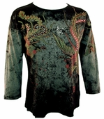 Katina Marie Printed Stretch Cotton, Pre-Washed Misses Sized, 3/4 Sleeve Women's Top - Chinese Phoenix