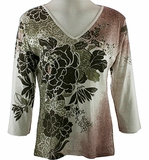 Katina Marie Printed Supima Cotton, Pre-Washed, Misses Sized, 3/4 Sleeve, Scoop Neck, Womens Ivory Colored Top - Texture & Flower
