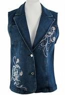 Katina Marie Sleeveless, Rhinestone Scroll Pattern, Top Pockets, Button Front Dark Denim Vest