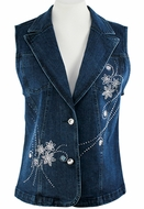 Katina Marie Sleeveless, Rhinestone Studded Floral Pattern, Top Pockets, Button Front Dark Denim Vest