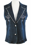 Katina Marie Sleeveless, Rhinestone Studded, Top Pockets, Button Front Dark Denim Vest