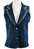 Katina Marie Sleeveless, Rhinestone Trimmed Collar & Sleeves, Top Pockets, Button Front Dark Denim Vest