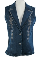 Katina Marie Sleeveless, Rhinestone Trimmed, Top Pockets, Button Front Dark Denim Vest