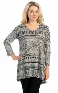 Katina Marie - South by West 3/4 Sleeve Cotton Model Print Burnout Tunic Top