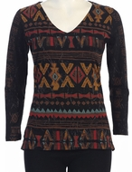 Katina Marie - SW Patterns 3/4 Sleeve Cotton Model Print Tunic Top.