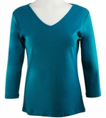 Katina Marie Teal Blue Colored 3/4 Sleeve V-Neck Cotton Top