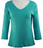 Katina Marie Turquoise Colored 3/4 Sleeve V-Neck Cotton Top