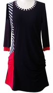 Lior Paris Clothing, Black, Red & White Geometric Patterned Tunic Top, Shear Center Accent with Trimmed Scoop Neck Collar - Side Lines