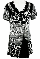 Lior Paris Clothing Black & White Colored Animal Print Patterned Tunic Top with Trimmed V-Neck Collar - Animal Patches