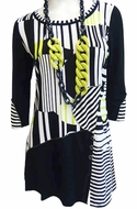 Lior Paris Clothing, Black & White Colored Geometric Patterned Tunic Top, Button Front Accent with Trimmed Sleeves & Collar - Lime Lines