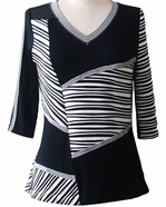 Lior Paris Clothing, Black & White Colored Patchwork Patterned Tunic Top, Trimmed V-Neck Collar - Varied Lot