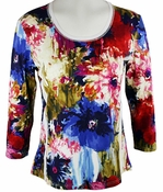 Lior Paris Clothing, Multi Colored Geometric Floral Patterned Top with Trimmed Scoop Neck Collar - Floral Colors