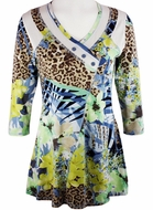 Lior Paris Clothing, Multi Colored Geometric Floral Patterned Top with Trimmed V-Neck Collar - Jungle Foliage