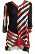 Lior Paris Clothing Striped Patterned Tunic Top, Asymmetric Hem Accent and Trimmed V-Neck Collar - Striped Decision