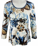Lior Paris Clothing, White, Blue & Brown Geometric Patterned Top with Trimmed Scoop Neck Collar - Illustrated Flowers