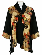 Moonlight - Asian Crane, Sharkbite Hem, 3/4 Sleeve, Mandarin Collar, Black & Red Colored Asian Themed Woman�s Jacket
