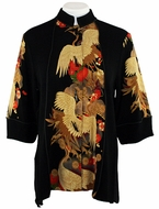 Moonlight - Asian Crane, Geometric & Floral Print, 3/4 Sleeve, Mandarin Collar, Asian Themed Woman�s Top