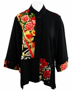 Moonlight - Asian Flower, Floral Print, Sharkbite Hem, 3/4 Sleeve, Mandarin Collar, Asian Themed Woman�s Jacket