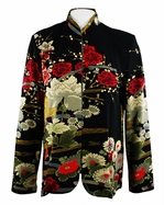 Moonlight - Asian Garden, Geometric & Floral Print, Long Sleeve, Mandarin Collar, Asian Themed Woman�s Jacket