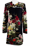 Moonlight Geometric & Floral Print, Mandarin Collar, Black & Red Colored Rayon & Acetate Blend Asian Themed Elongated Woman's Jacket - Asian Garden