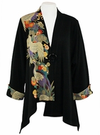 Moonlight - Purple Crane, Large Button Front Floral Print, Long Sleeve, Mandarin Collar, Black & Red Colored Asymmetric Hem Asian Themed Woman�s Jacket