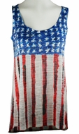 Nally & Millie, Red, White & Blue Colored, Scoop Neck Woman's Patriotic Tank Top on a Sleeveless Body - U.S. Flag