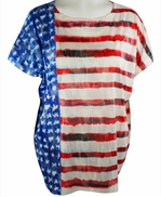 Nally & Millie, Red, White & Blue Colored, Scoop Neck Woman's Patriotic Top on a Short Sleeve Body - USA Flag