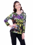 Parsley & Sage Woman's Colorfully Printed Fashion Swing Top designed with a unique floral pattern multi colored in 3/4 sleeves titled Clara