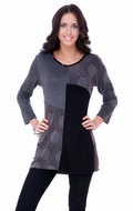 Parsley & Sage Woman's Fashion Tunic designed with a muted cutwork pattern on a trimmed v-neck with 3/4 sleeves titled Tracey