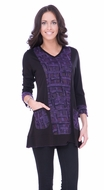 Parsley & Sage Woman's Fashion Tunic designed with a unique cutwork multi colored pattern with trimmed 3/4 sleeves & front pockets titled Dana