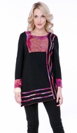 Parsley & Sage Woman's Printed Cotton Tunic designed with a unique horizontal & vertical pattern in 3/4 sleeves titled Liz