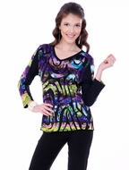 Parsley & Sage Woman's Printed Cotton V-Neck Top designed with a unique color blended geometric pattern in 3/4 sleeves titled Henrietta