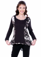 Parsley & Sage Woman's Printed Fashion Fish Tail Top designed with a black & white geometric pattern on a trimmed scoop neck with 3/4 sleeves titled Carol