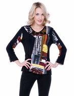 Parsley & Sage Woman's Printed Fashion Top designed with a unique geometric pattern in 3/4 sleeves titled Bianca