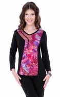 Parsley & Sage Woman's Printed Fashion Top designed with a unique geometric pattern multi colored on a trimmed v-neck with 3/4 sleeves titled Liz