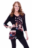 Parsley & Sage Woman's Printed Fashion Tunic designed with a distinctive cutwork pattern in a multi colored v-neck with 3/4 sleeves titled Gilda