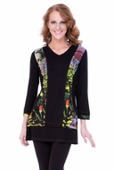 Parsley & Sage Woman's Printed Fashion Tunic designed with a distinctive floral pattern in a multi colored v-neck with 3/4 sleeves titled Clara