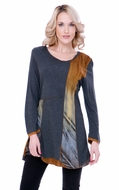 Parsley & Sage Woman's Printed Fashion Tunic designed with a unique cutwork pattern on a multi colored scoop neck with trimmed long sleeves titled Marcia