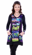 Parsley & Sage Woman's Printed Fashion Tunic designed with a unique floral pattern on a multi colored v-neck with 3/4 sleeves titled Mola