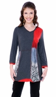 Parsley & Sage Woman's Printed Fashion Tunic Top designed with a unique cutwork multi colored pattern with 3/4 trimmed sleeves titled Shauna