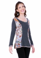 Parsley & Sage Woman's Printed Fish Tail Top designed with a distinctive geometric cutwork pattern in trimmed long sleeves and collar titled Rene