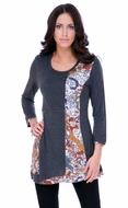 Parsley & Sage Woman's Printed Tunic Top designed with a distinctive geometric pattern with trimmed 3/4 sleeves and hem titled Rene