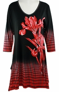 Valentina Signa � Checkered Flower, 3/4 Sleeve Sharkbite Tunic Rhinestone Accent